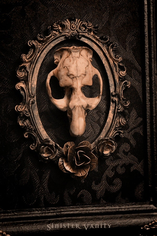 Gothic Taxidermy Skull Victorian Ornate Muskrat Ros Black Damask Wall Art Plaque Hanging Frame - SinisterVanity