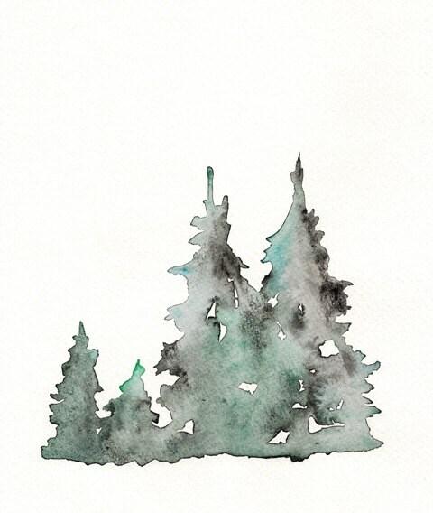 Winter's Edge / Winter Trees /  Watercolor Print - kellybermudez