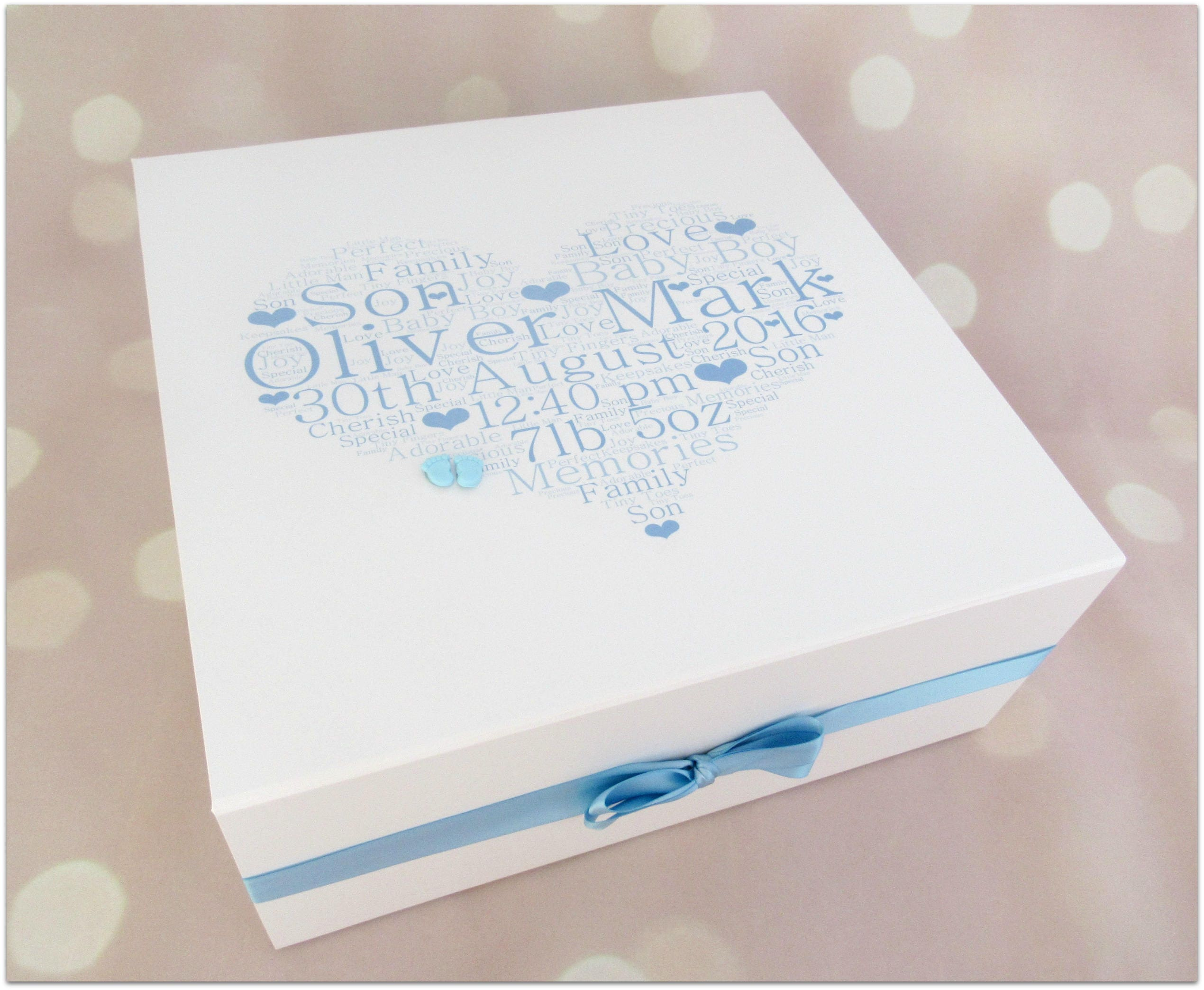 Gorgeous extra large personalised new baby boy keepsake memory box baby memory box new baby gift baby keepsake box
