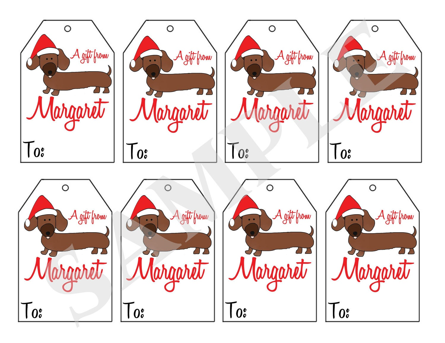 Printable Personalized Christmas Dachshund Dog gift tags, Dachshund ...