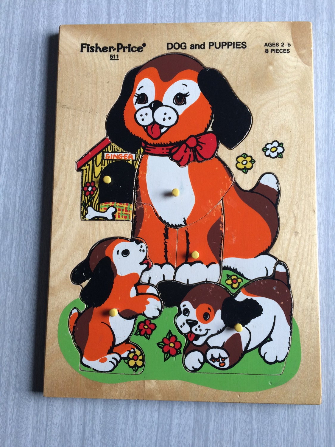 Fisher Price Dog and Puppies Wooden Inset Puzzle