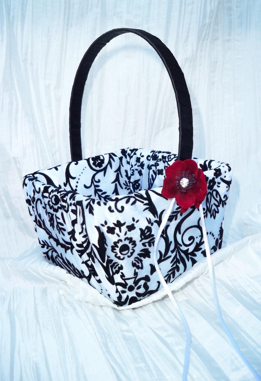 Flower Girl Baskets Black : Black and white damask wedding flower girl by creations brides