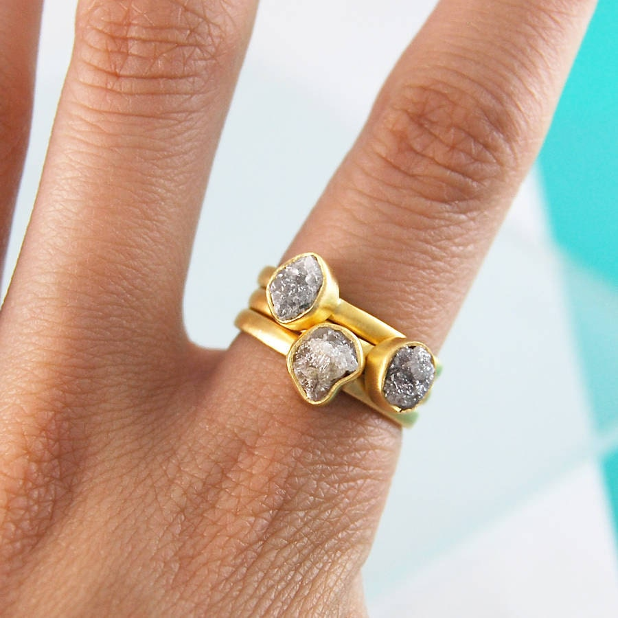 Diamond Ring Stacking Rings Gold Gemstone Rings Unusual Wedding Rings Rough Diamond Rustic Diamond Jewelry Organic Rings Boho Wedding
