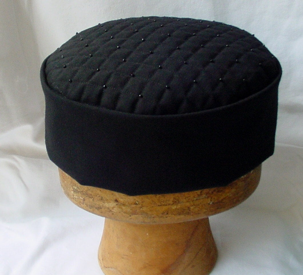 Victorian Style Smoking Cap Black Quilted and Beaded Lounge Hat Steampunk Mens Hat Gothic Pillbox Hat Edwardian Fez  handmade