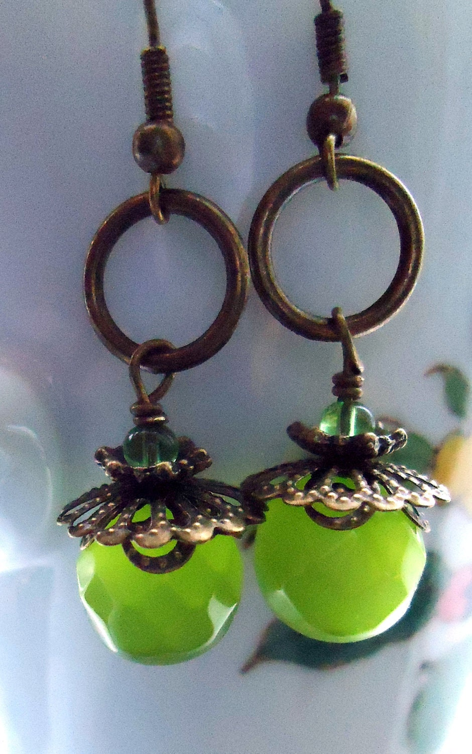 Green Earrings Cats Eye