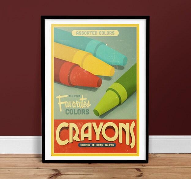 Crayons Colors - Vintage Poster - Retro Art Print
