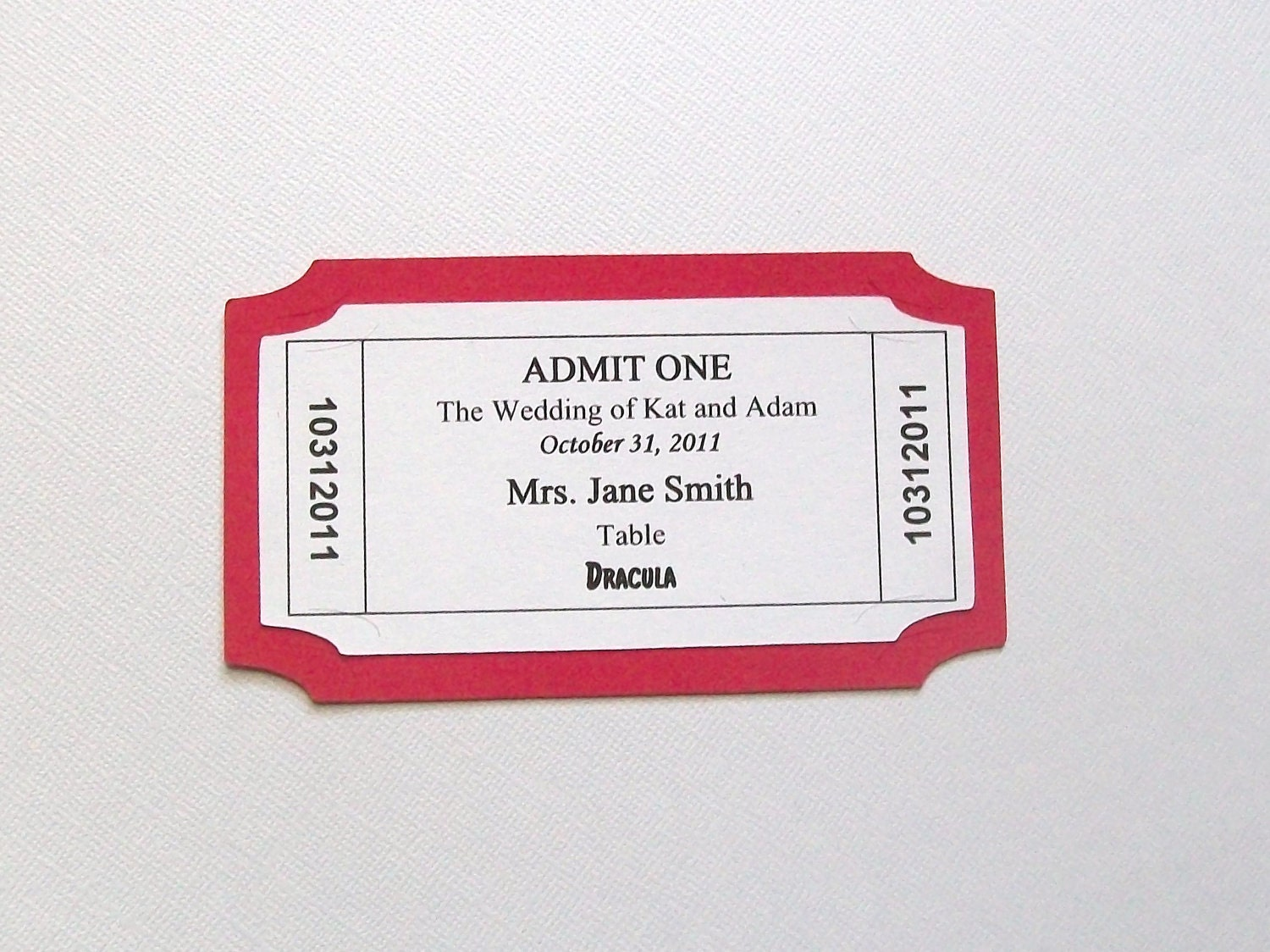 Customized movie ticket