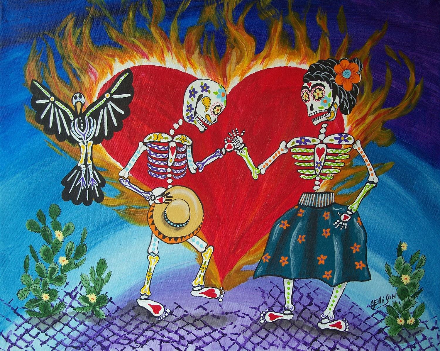 Day of the dead burning love frida kahlo diego by jellisonart for Diego rivera day of the dead mural