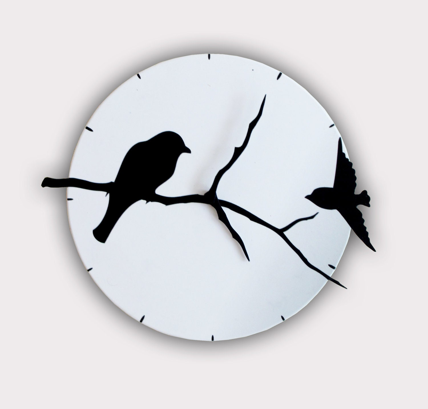 Birds on Tree Shadows Wall Clock - walldecoration