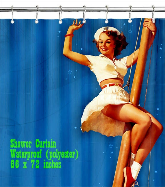 Sailor Pin Up Girl / Shower Curtain/ Custom Design/ Bathroom Decor ...