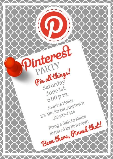 Custom Pinterest Themed Birthday Party Printable Invitation