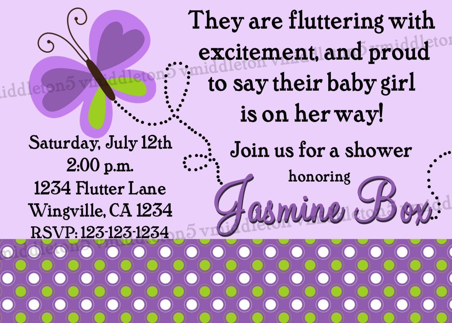 butterfly baby shower invitation print your own 5x7 by vmiddleton5
