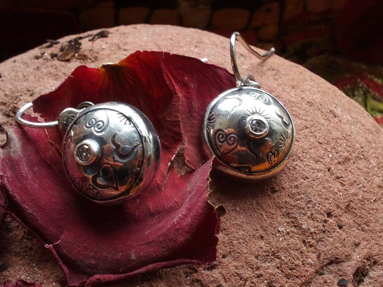 Domed Gemstone Earrings with White Topaz