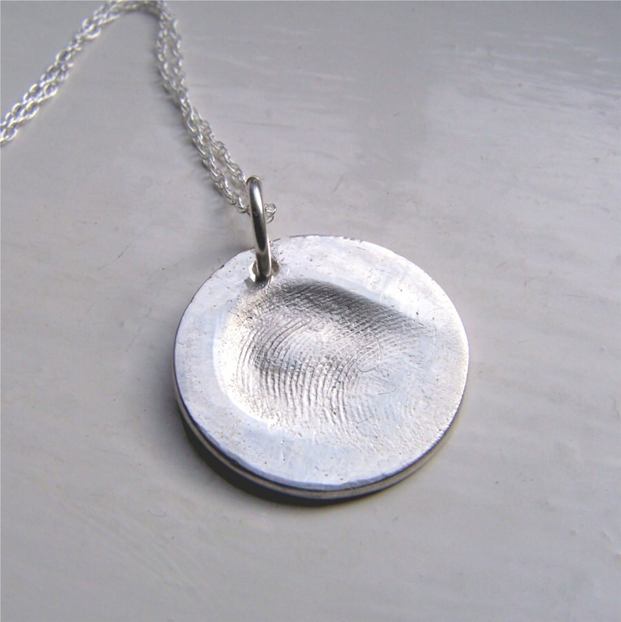 fingerprint charm necklace silver by earthshinedesigns1 on