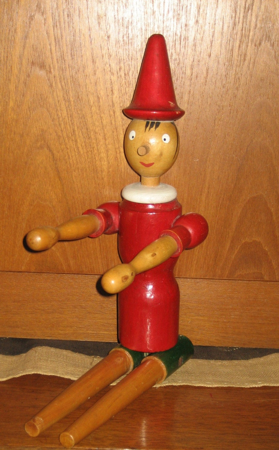 Vintage wood pinocchio doll figure moving parts 50s 60s era toy