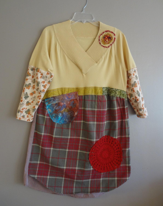 Artsy Dress Tunic / Upcycled Clothing by UpCdooZ / Eco Clothing/OOAK