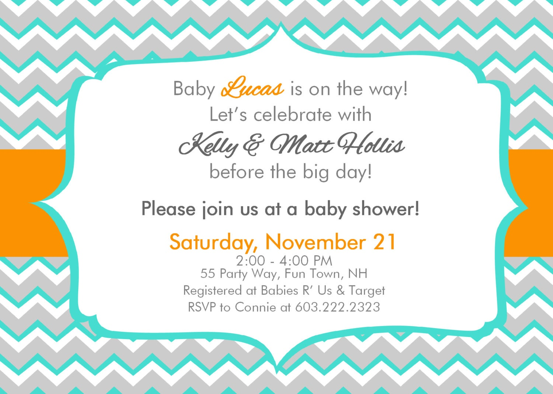 baby shower invitation chevron boy turquoise orange gray baby shower