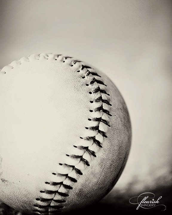Black and White or Vintage Baseball 8x10 Photography Print - CarriedAwayByPaper
