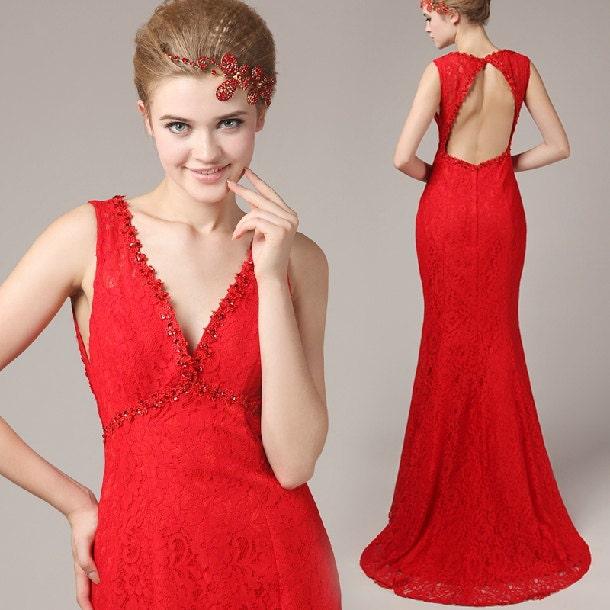 Royal blue evening dress formal dress red off white lace wedding dress