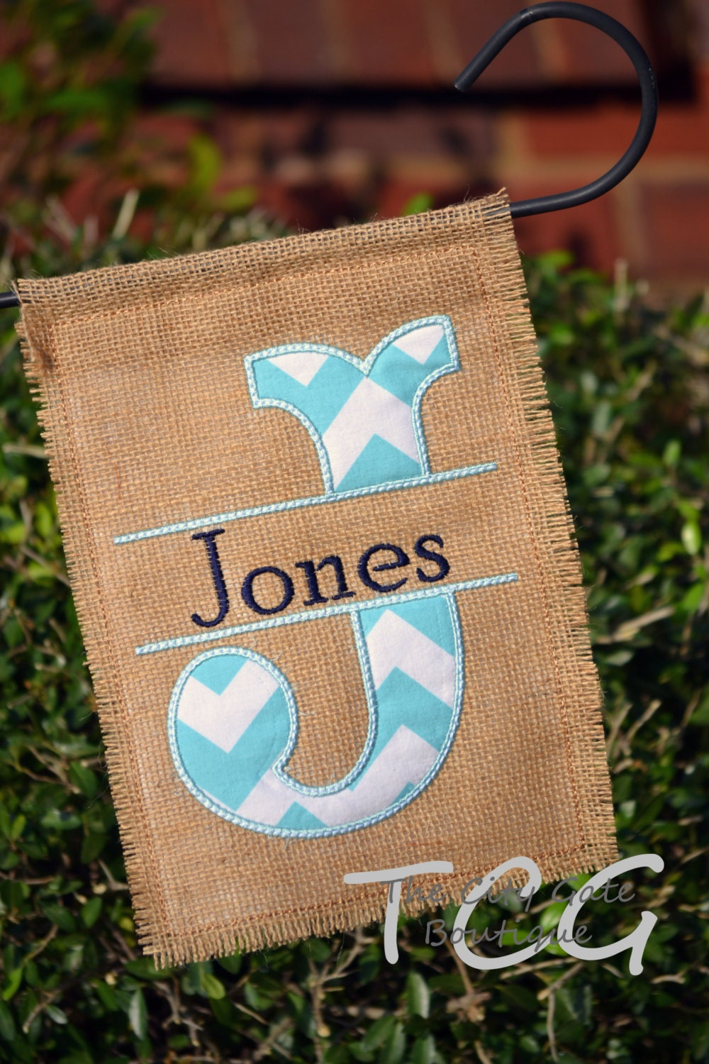 Personalized Chevron Burlap Garden Flag By Thecitygate On Etsy