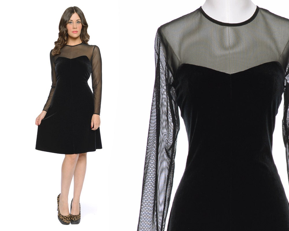 Black velvet dress sheer neckline fit flare cocktail 80s party dress