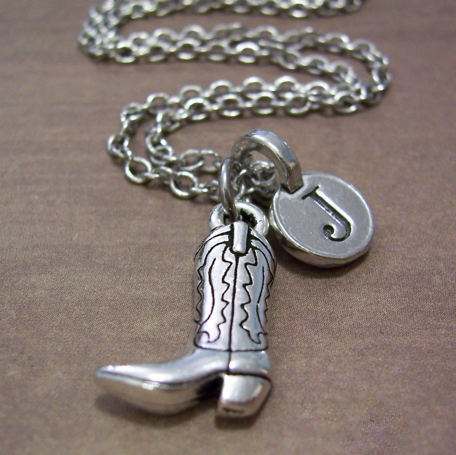 personalized cowboy boot charm necklace silver by