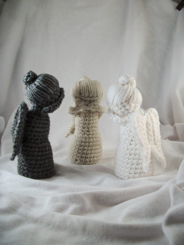 Amigurumi Weeping Angel Pattern : Set of 3 Crochet Weeping Angel Statues by LaurelAndHoney ...