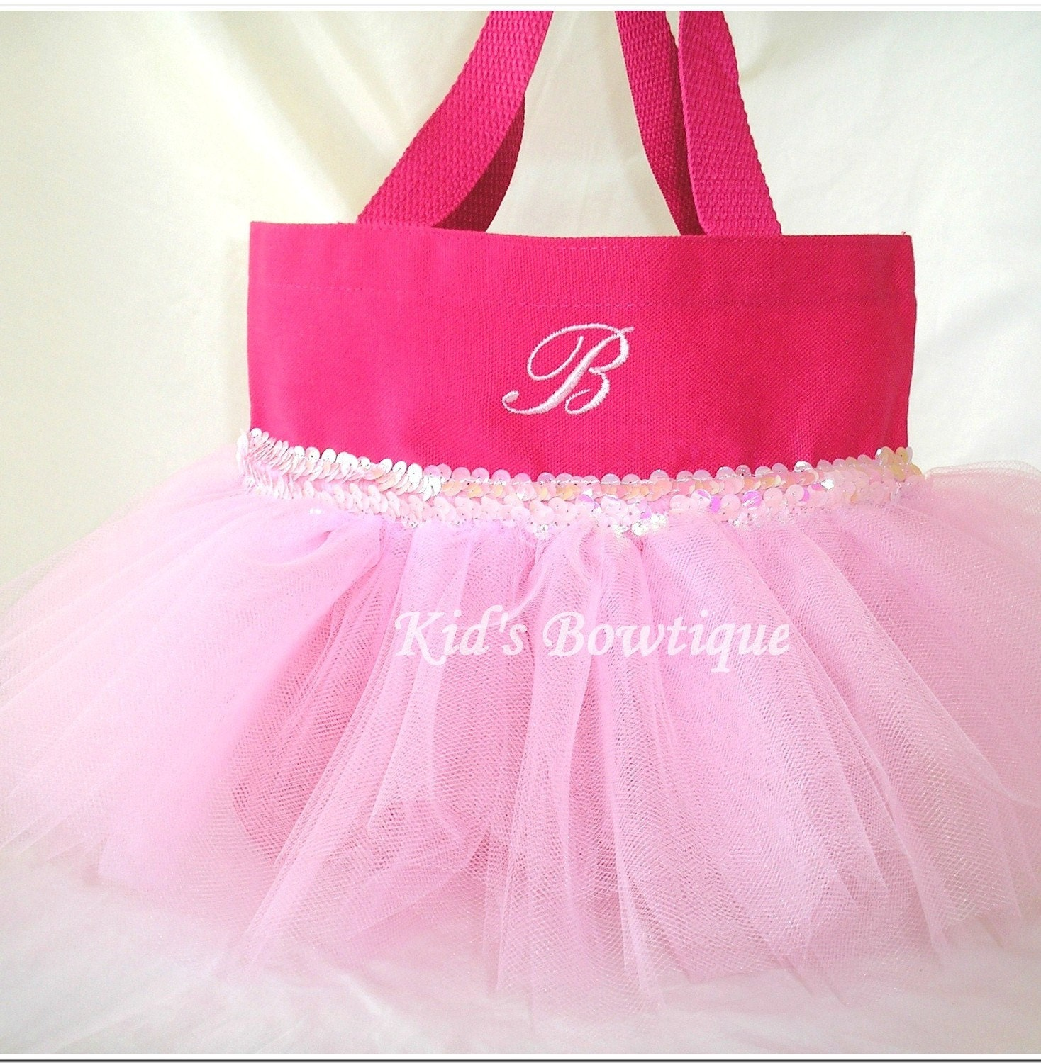pink sequins tutu personalized bag monogrammed by kidsbowtique