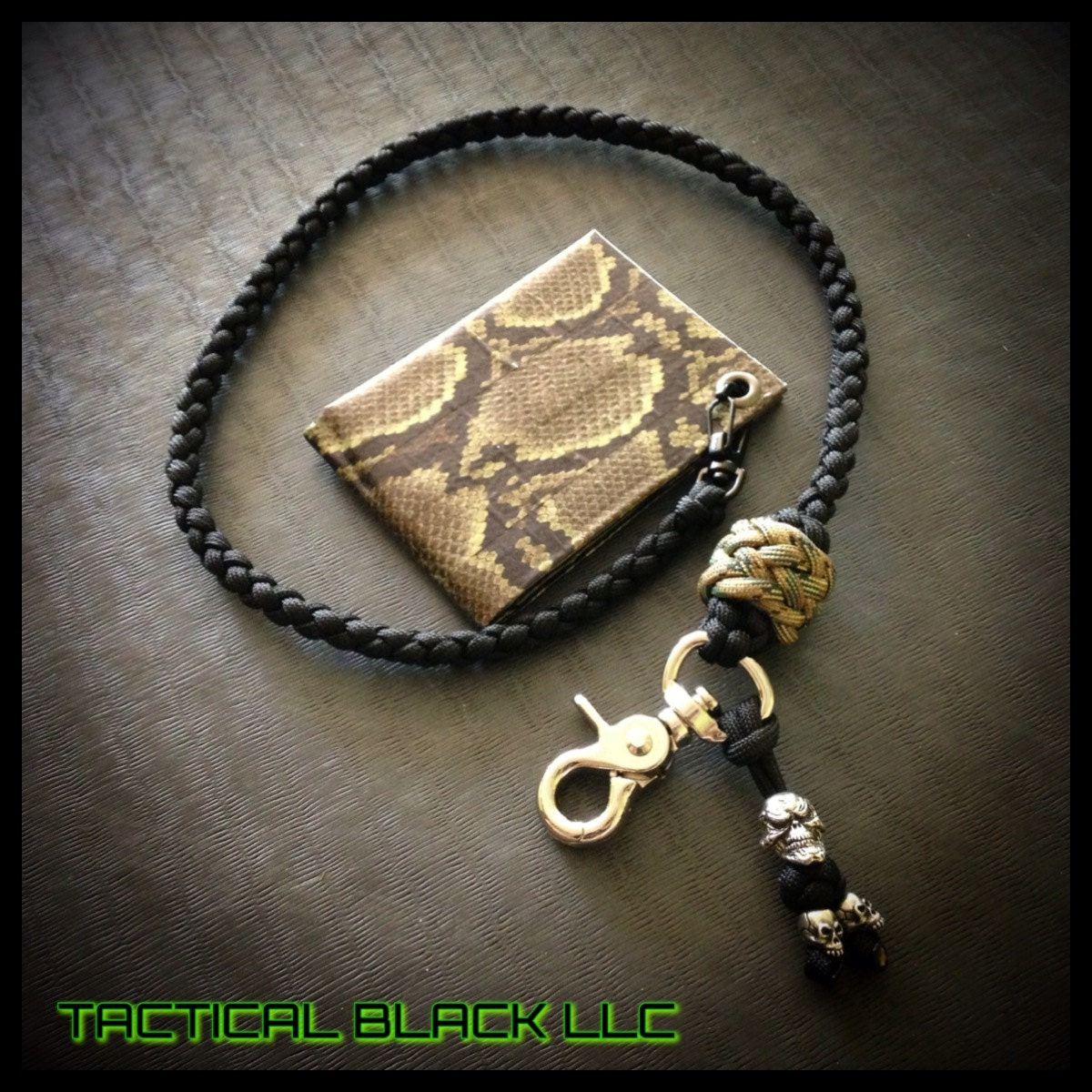 Paracord skull wallet chain by tacticalblackrds on etsy for How to make a paracord wallet chain
