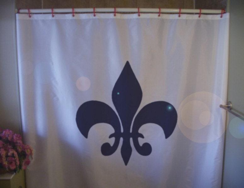 Fleur de lis shower curtain lily france quebec french quebecois