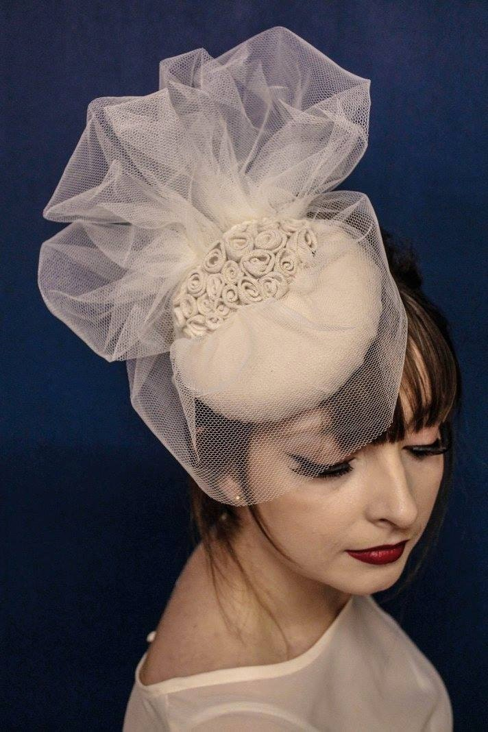 pillbox with fabric roses and veiling  hat  fascinator  bridal  bridal accessories  wedding hat  bridal headpiece