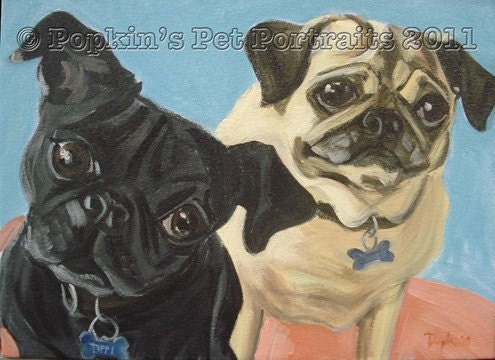 "custom portrait of up to two pets by Spoon Popkin up to 20"" x 30"""