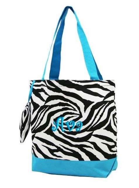 Personalized Tote Bag Zebra Blue Monogrammed Wedding Dance