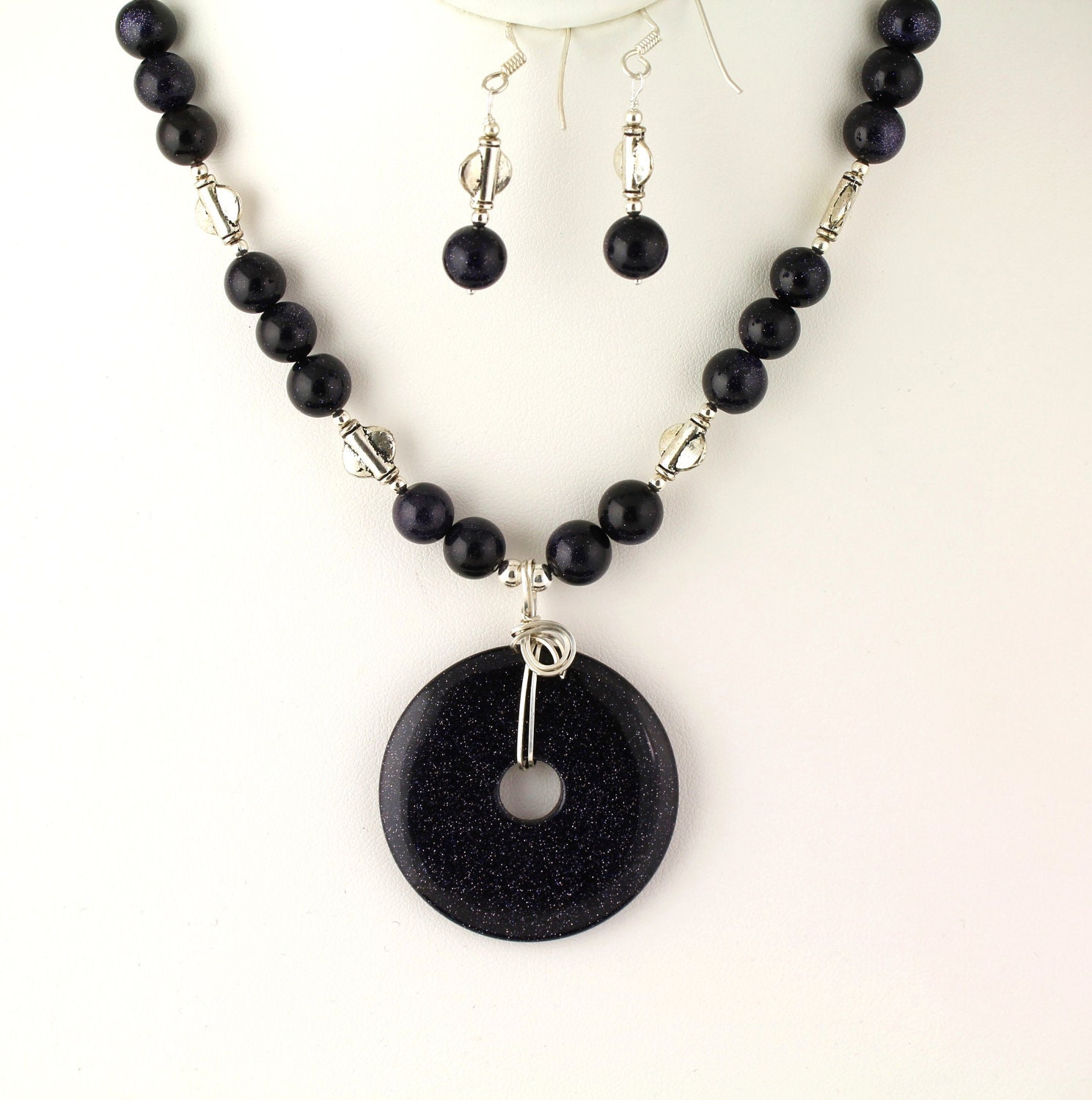 blue goldstone necklace set listing by ptcreationsjewelry