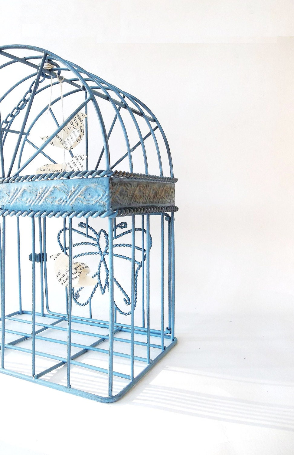 Wrought Iron Birdcage. Little Paper Birds Mobile. Romantic French Country Farmhouse Decor. French Blue