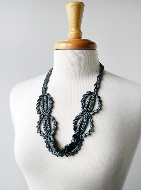 Fiber Art Jewelry - Silk Crochet Lace Necklace - Charcoal Steel Grey - ElenaRosenberg