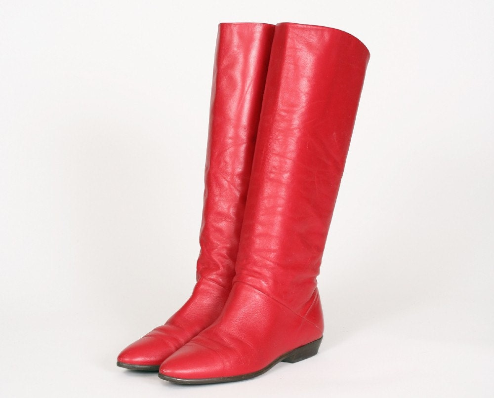 Vintage Red Leather 80s Tall Flat Pirate Boots Shoes By