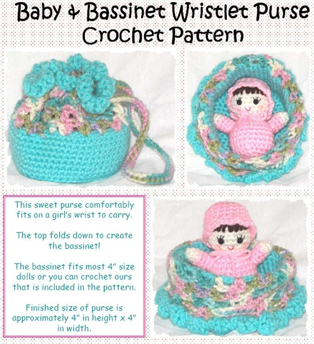 Crochet Baby Cradle Purse Pattern : Baby and Bassinet Wristlet Purse Crochet by erinoliviadesigns