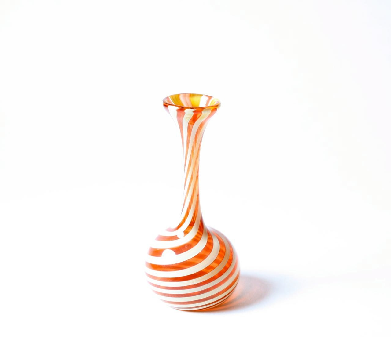 Miniature Amber & White Striped Vase - RocklandGlassworks