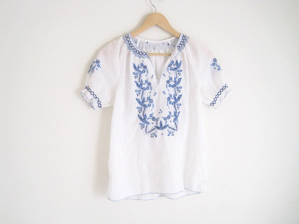 Greek Embroidered Peasant Blouse 92
