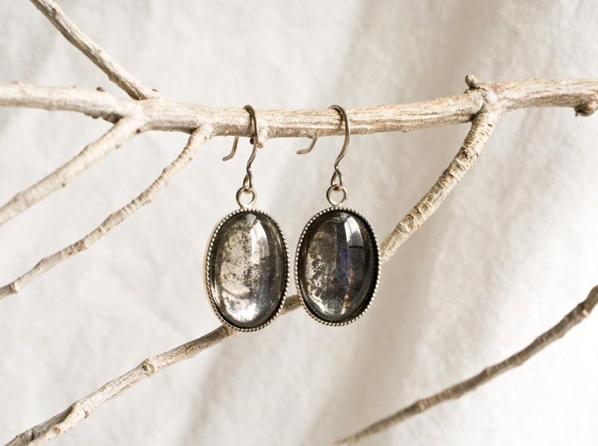 Glass Mirror Dangle Earrings - Antiqued Mirror Cabochons with Oxidized Silver Setting - Modern Urban Fantasy Steampunk Gothic. - AlchemyInGlass