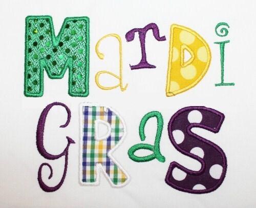 Mardi gras word embroidery design machine by theappliquediva