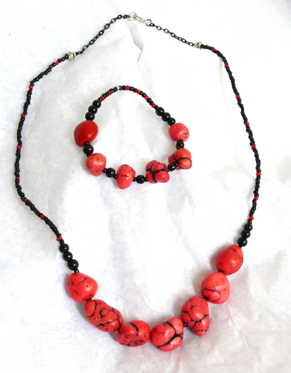 Red Dyed Turquoise Nuggets Jewelry Set - UniqueCreationsBB