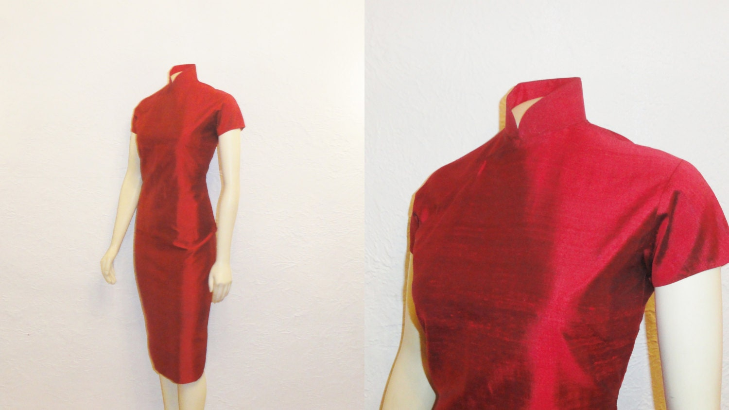Vintage Dress 50s 60s Red Wiggle Dress Asian Oriental Inspired Metal Zipper Size Extra Small to Small
