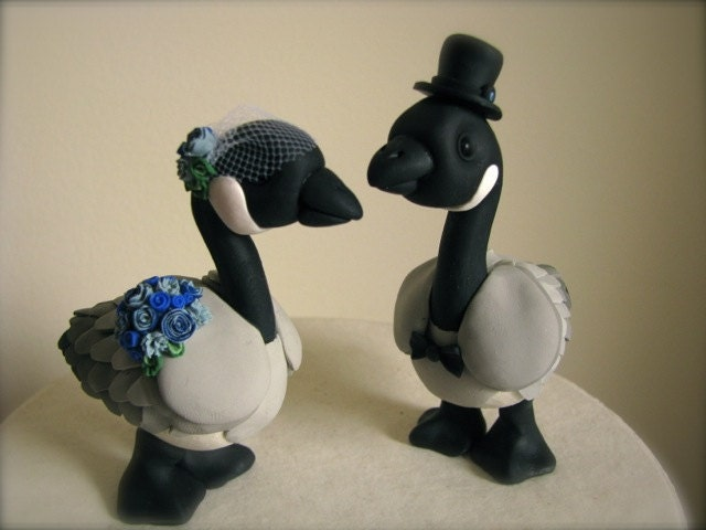 Canadian Geese love custom wedding cake topper