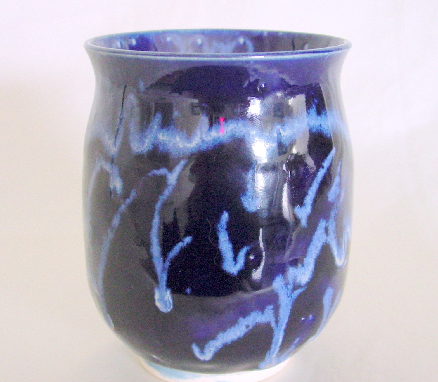 Cup or Tea Bowl  Midnight Blue with White and Baby Blue Highlights
