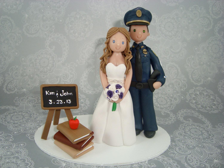 Police Officer And Teacher Wedding Cake Topper