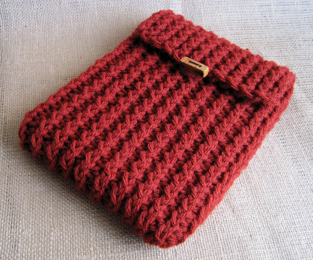 Knitting Pattern Book Cover : ipad case 2012: 2012 Redwood Knit iPad Cover with Wooden Toggle Button & ...