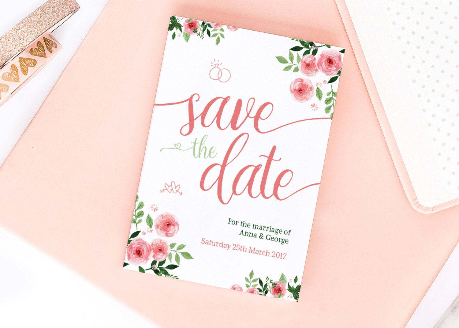 Pink Blossom Save the DateWedding Announcement Cards