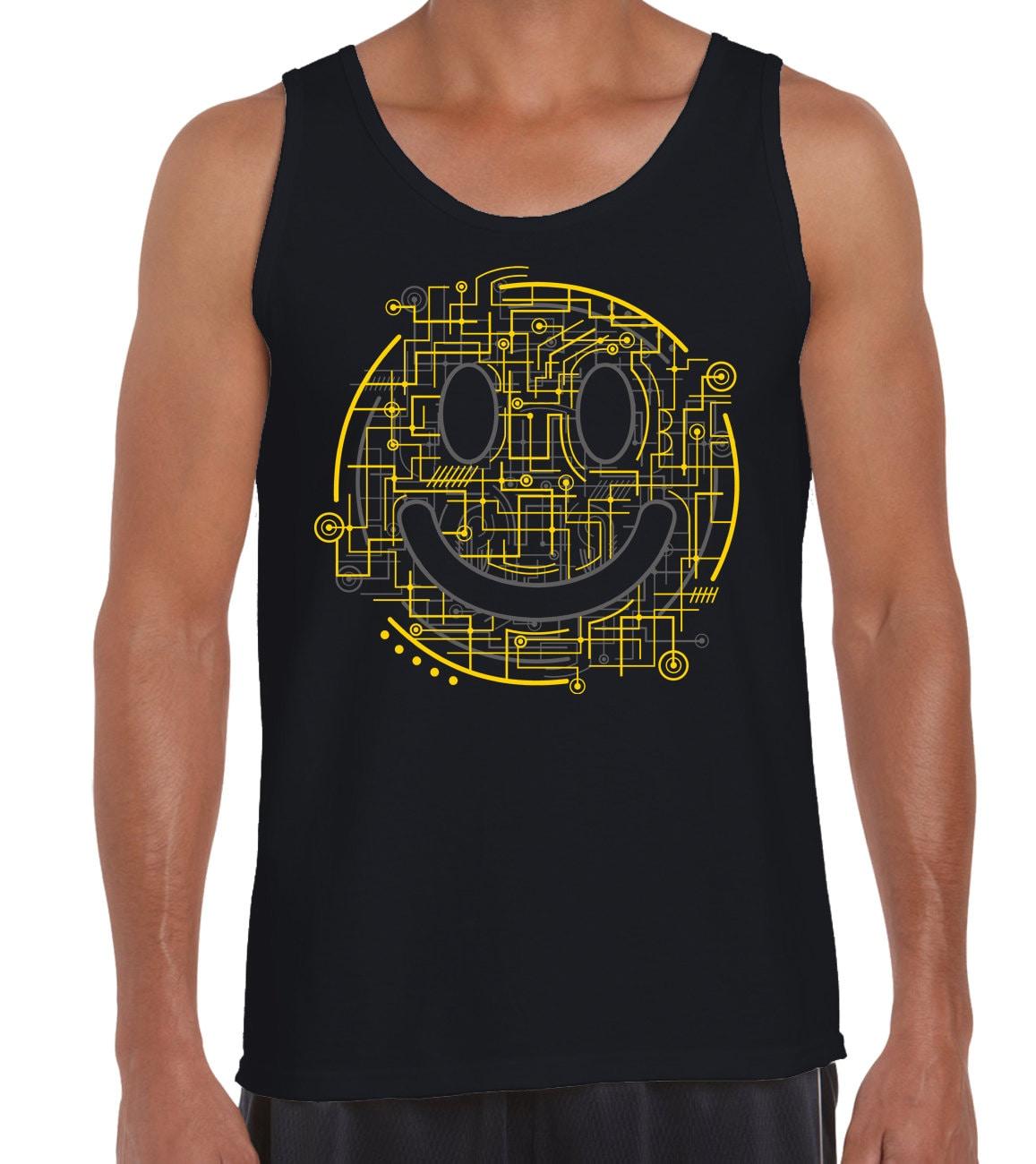 Electric Smiley Acid Face Mens Vest Tank Top  House Music Rave Festival Ibiza